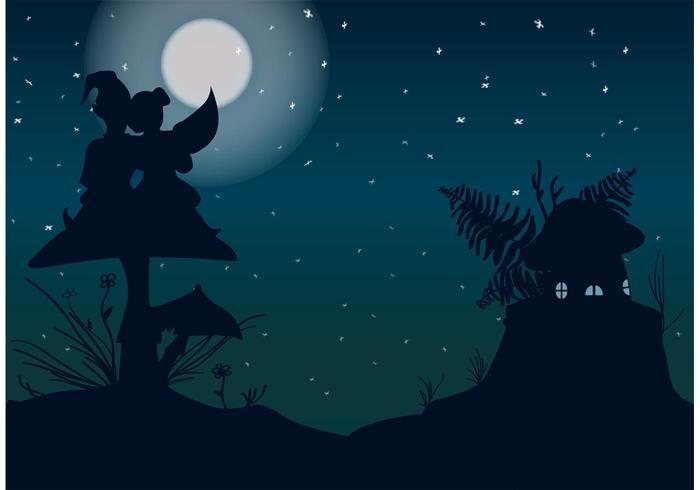 Belle nuit avec un vecteur de gnomes