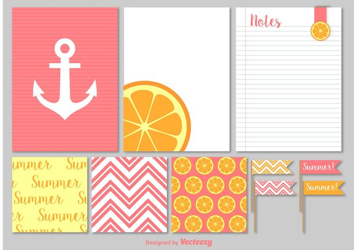 Éléments vectoriels des notes d'été et des scrapbooks en papier vecteur
