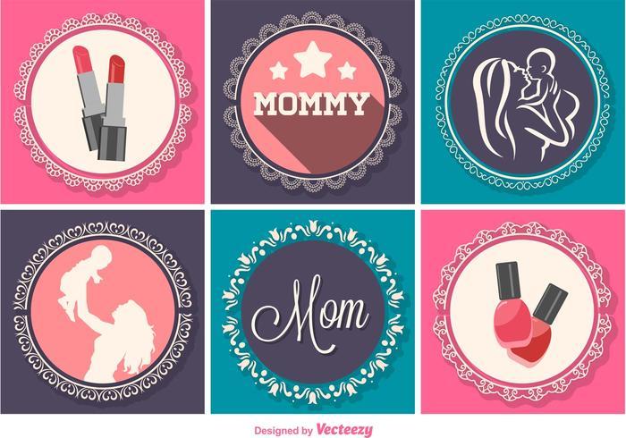 Décorations graphiques pour la fête des mères vecteur