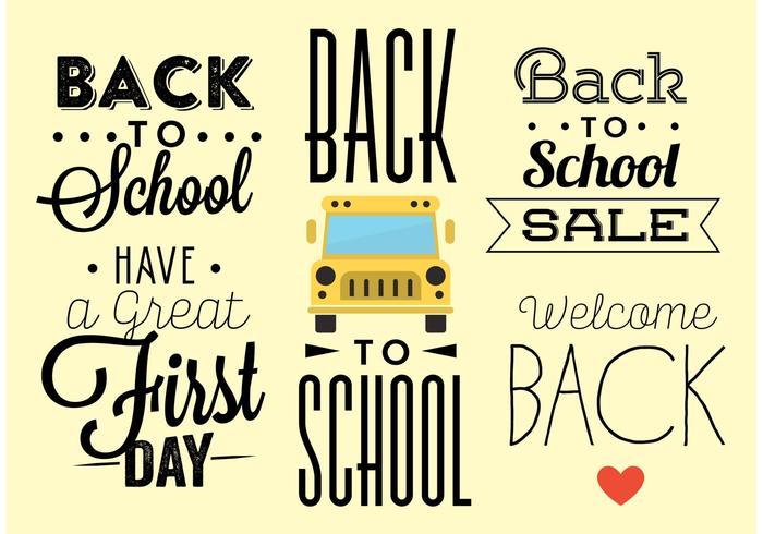 Vecteurs de typographie de retour à l'école vecteur