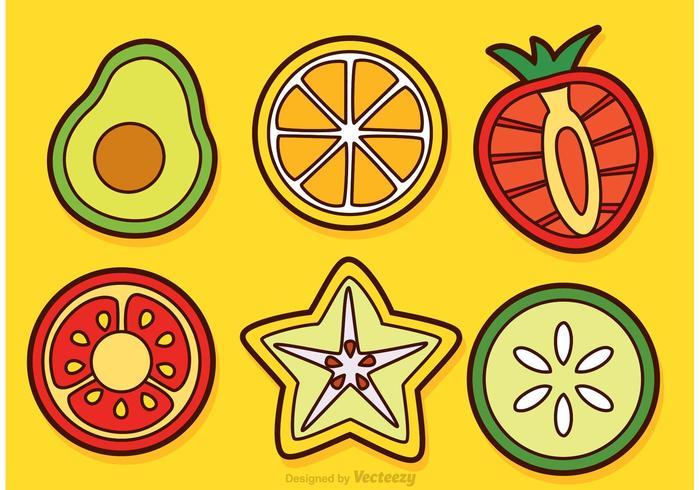 Tranches de fruits et de vecteurs végétaux vecteur