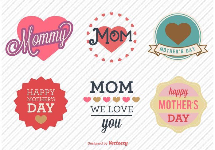 Vecteurs d'insignes d'amour de la fête des mères vecteur