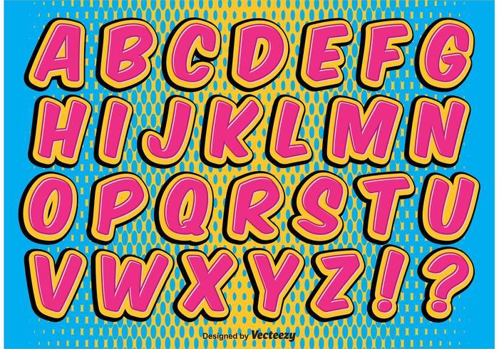 Ensemble alphabétique de style comique vecteur