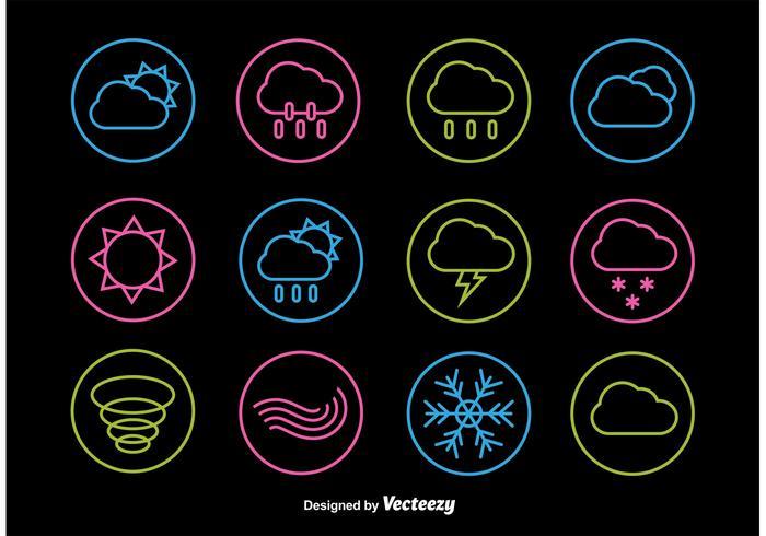 Icônes de ligne météo néon vecteur