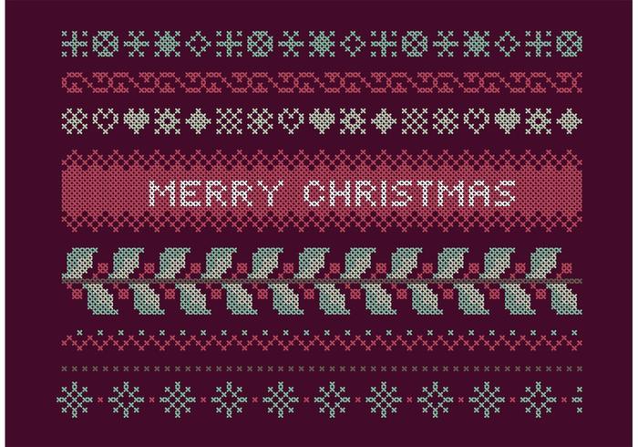 Ensemble de Noël Cross Stitch vecteur