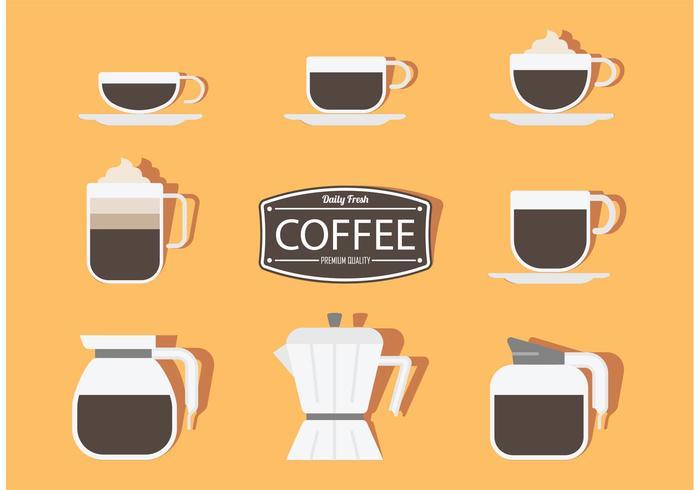 Autocollants de café vecteur