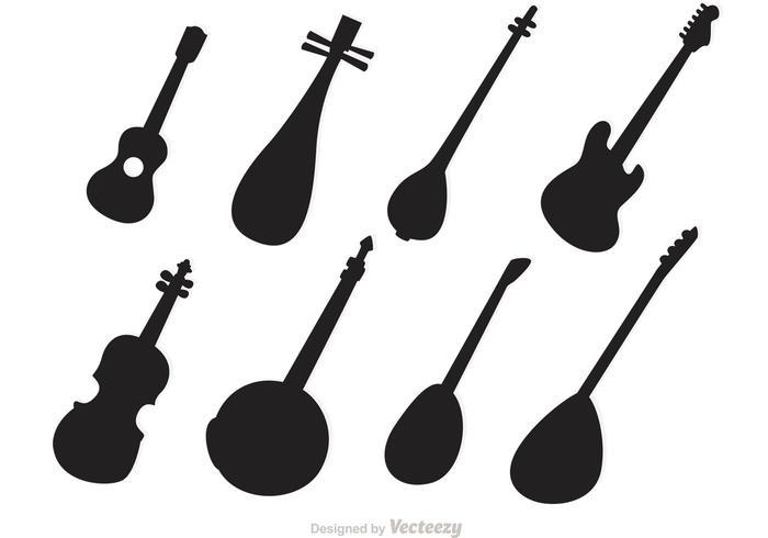 Vecteurs d'instruments à cordes silhouettes vecteur
