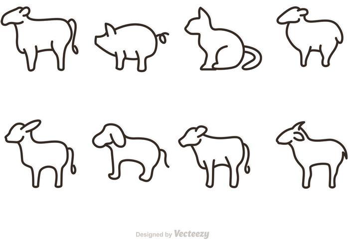 Définir les icônes des vecteurs d'animaux vecteur