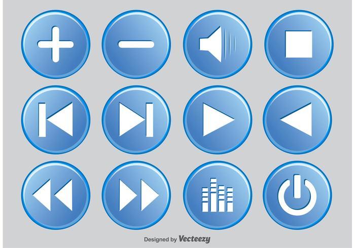 Ensemble de boutons du lecteur multimédia vecteur