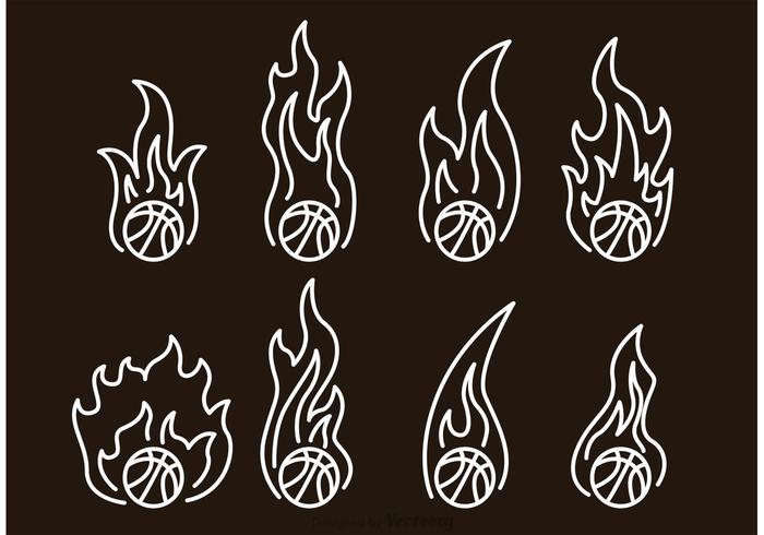 Icônes de contours de Basketball On Fire vecteur