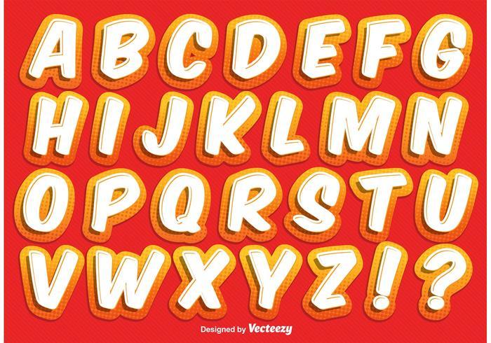 Alphabet de style comique vecteur