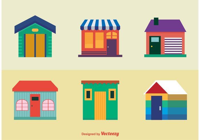 Icônes de maisons colorées vecteur