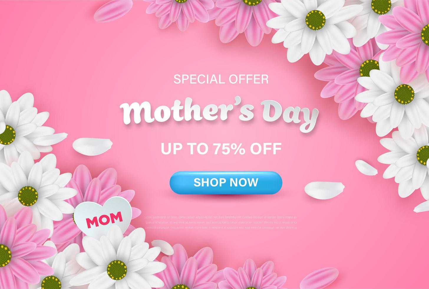 bannière web vente rose fête des mères avec des fleurs vecteur