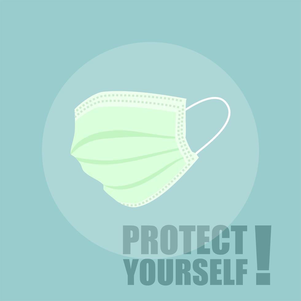 masque vert pour l'auto-protection vecteur