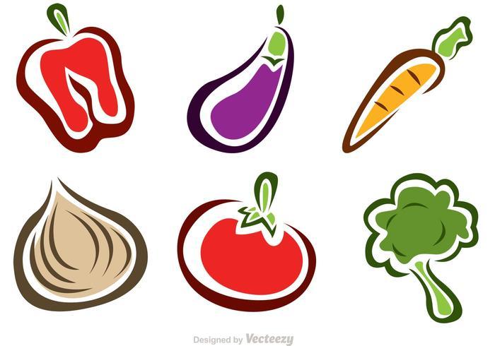 Icônes élégantes pour les légumes vecteur
