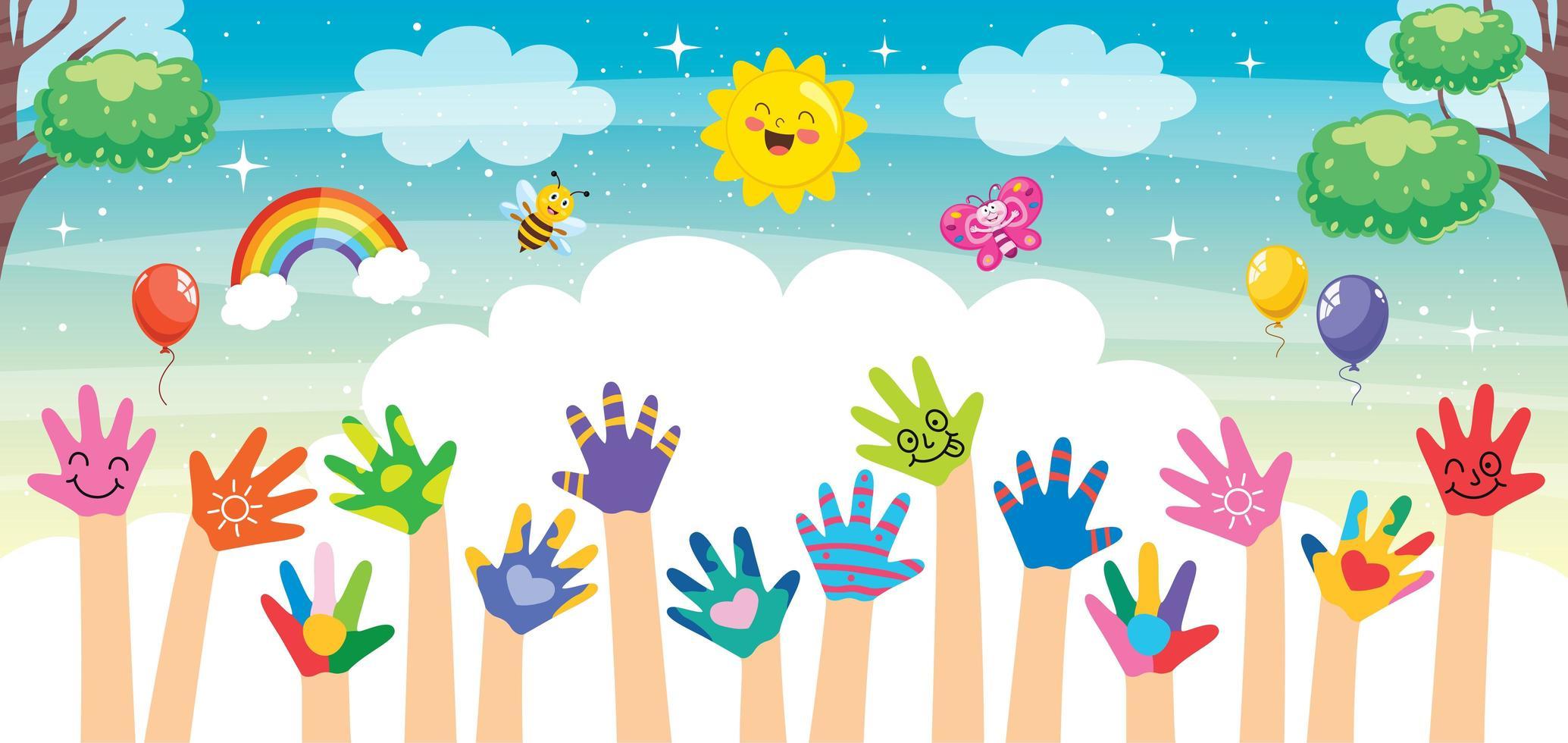 mains peintes de petits enfants vecteur