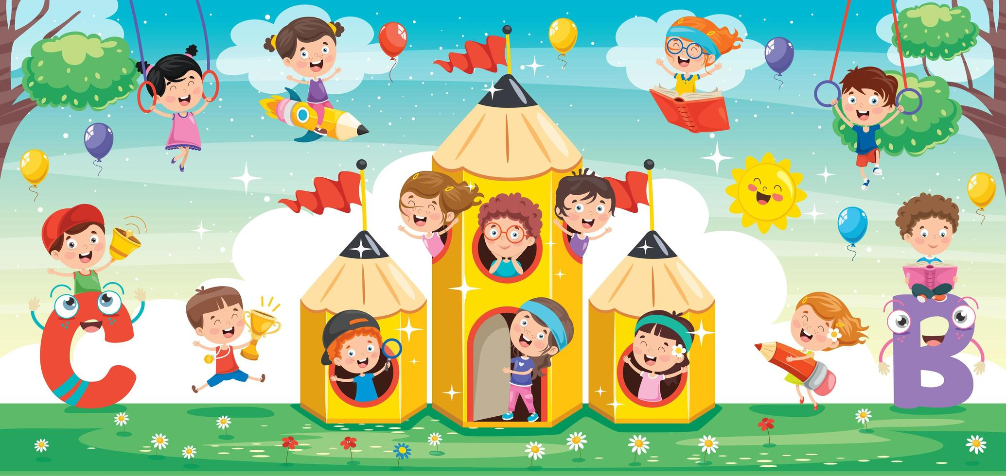 enfants mignons jouant autour et sur des crayons vecteur