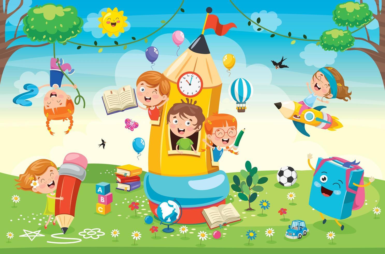enfants mignons jouant dans la maison de crayon vecteur