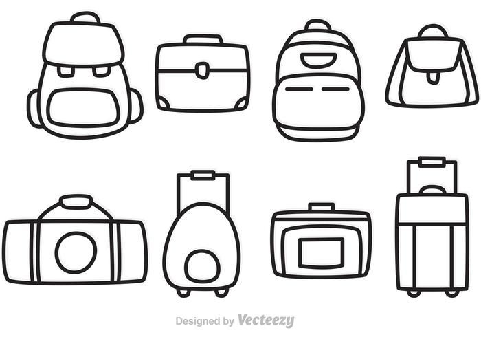 Icônes de contour de sac de vecteur