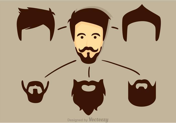Vecteur cool mec avec barbe