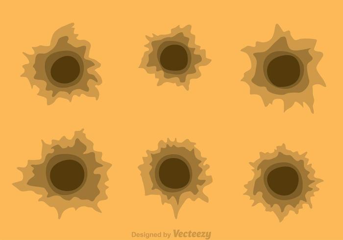 Trous de balle sur papier marron vecteur
