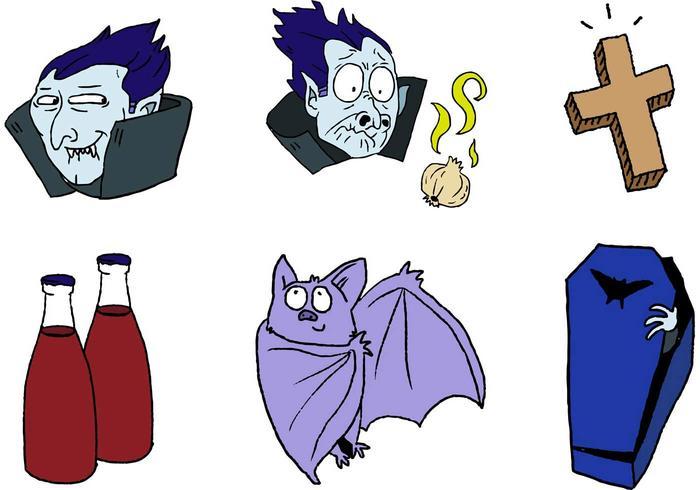 Ensemble de dessins animés Cartoon Dracula vecteur
