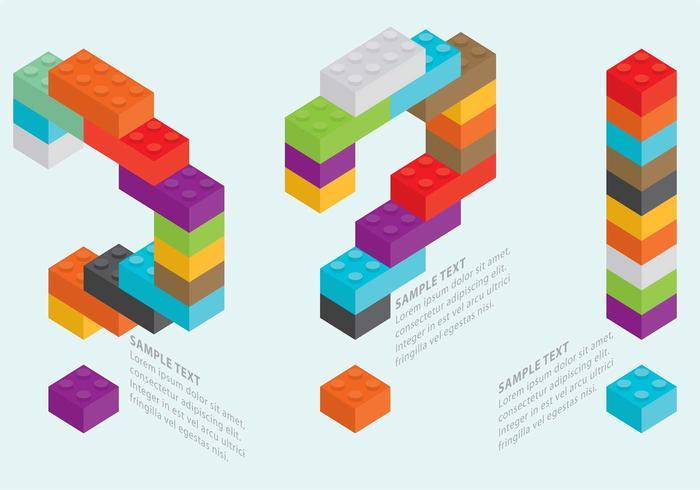 Les questions de lego et les vecteurs d'exclamation vecteur