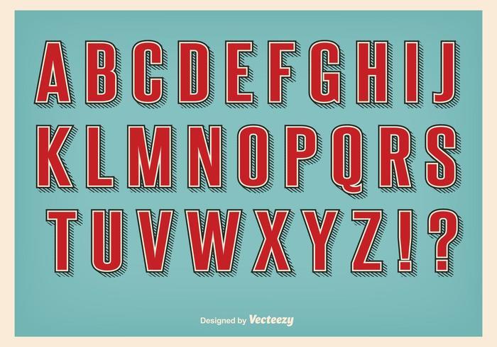 Rétro Style Alphabet set vecteur