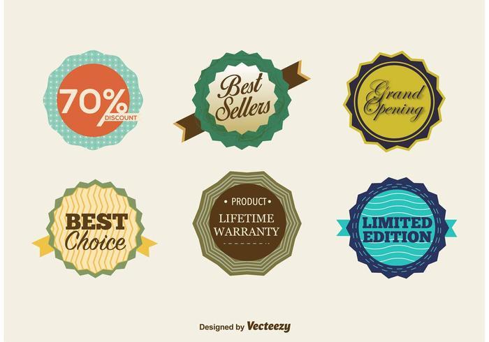 Badges rétro du meilleur vendeur vecteur