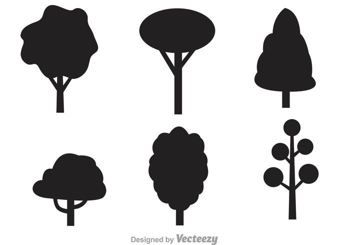 Icônes de vecteur d'arbre noir