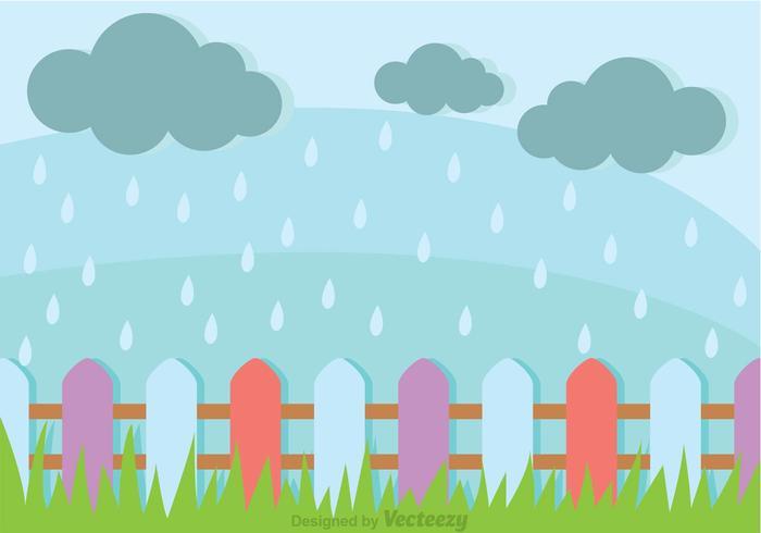 Douches de printemps dans un champ d'herbe vecteur