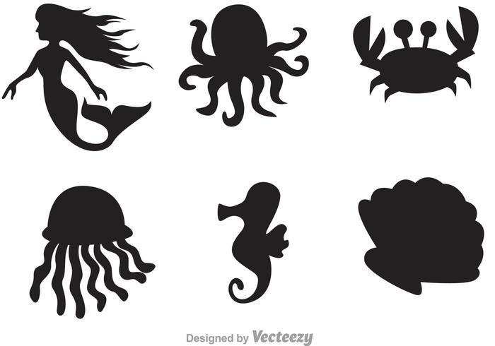 Icônes de la silhouette de la vie marine vecteur