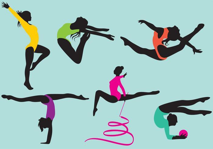 Vecteurs féminins de silhouette de gymnastes vecteur