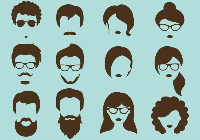 Hipster vector silhouettes