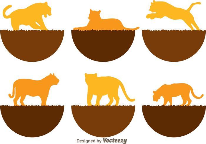 Icônes de silhouette de tigre vecteur