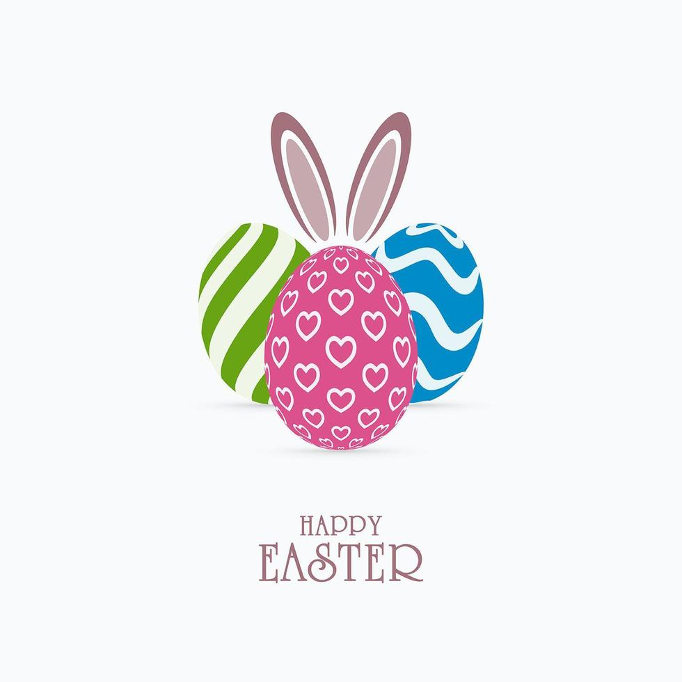 oeufs de Pâques à motifs avec des salutations d'oreilles de lapin vecteur