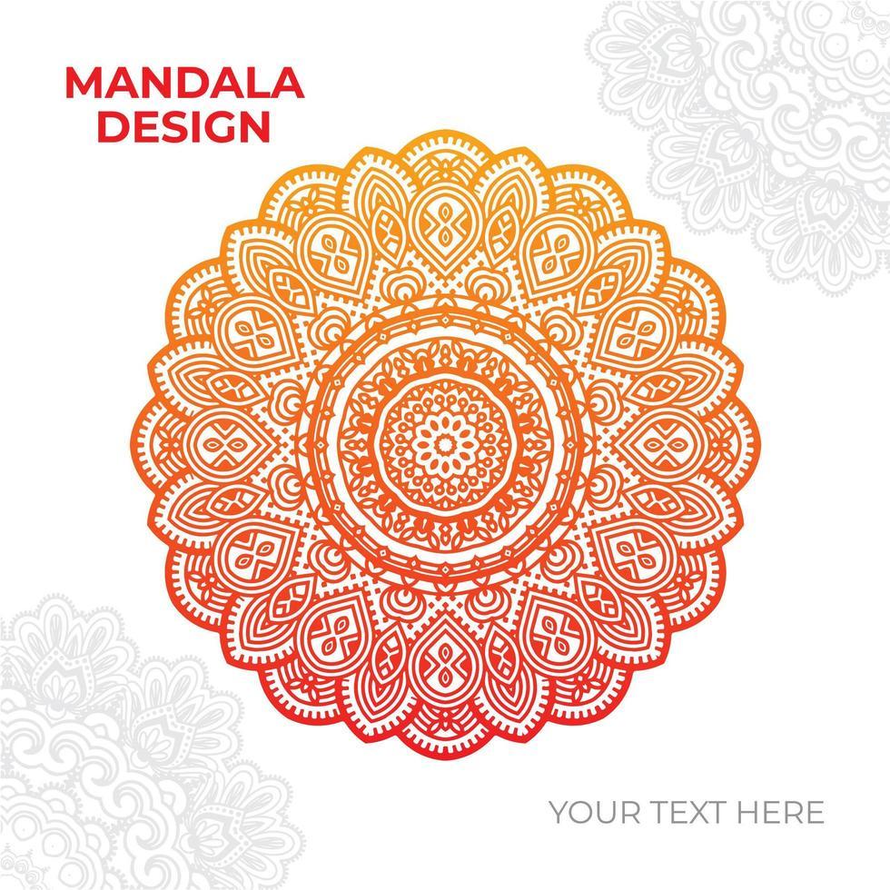 conception de mandala complexe orange et jaune vecteur