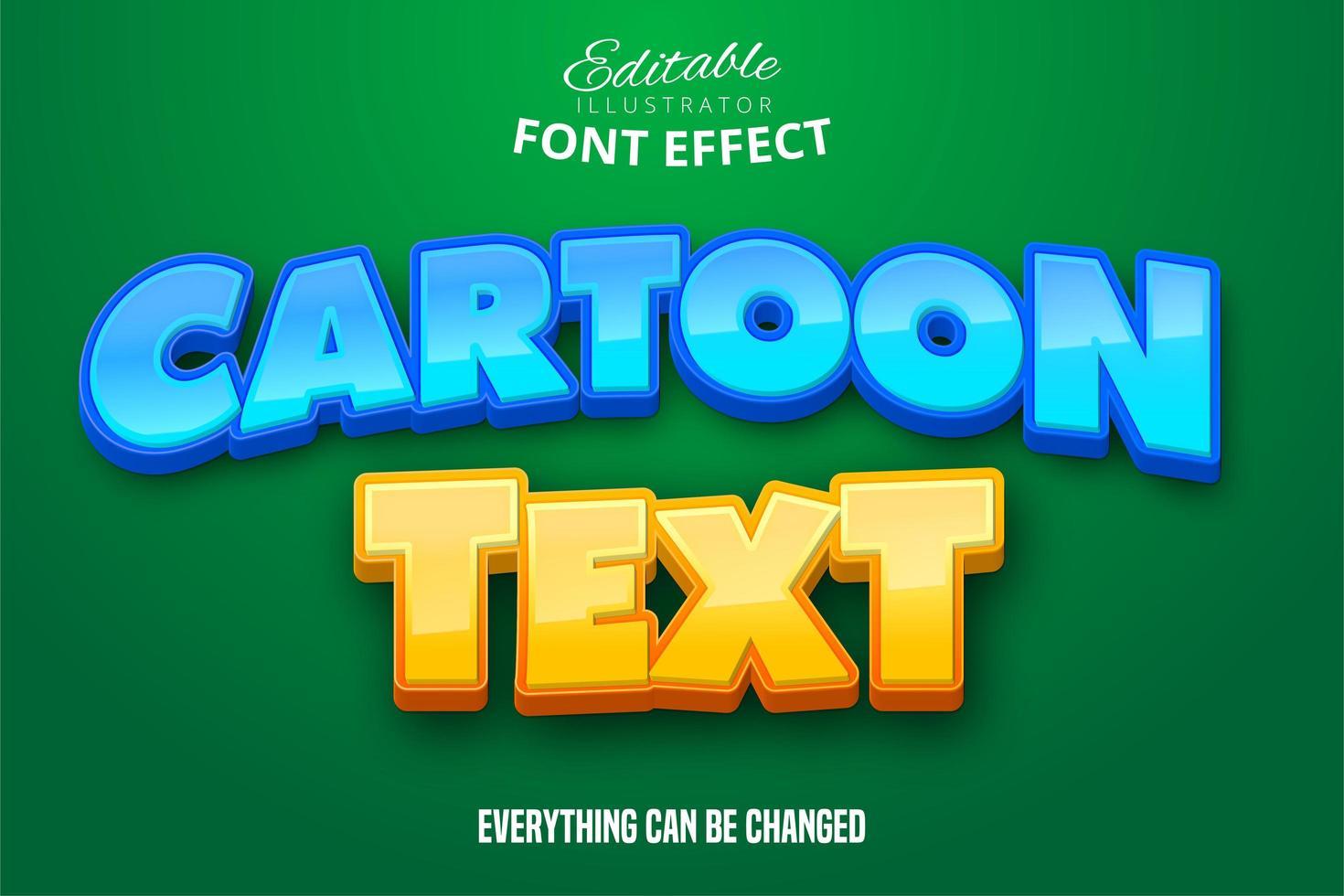 effet de texte de dessin animé bleu jaune vecteur