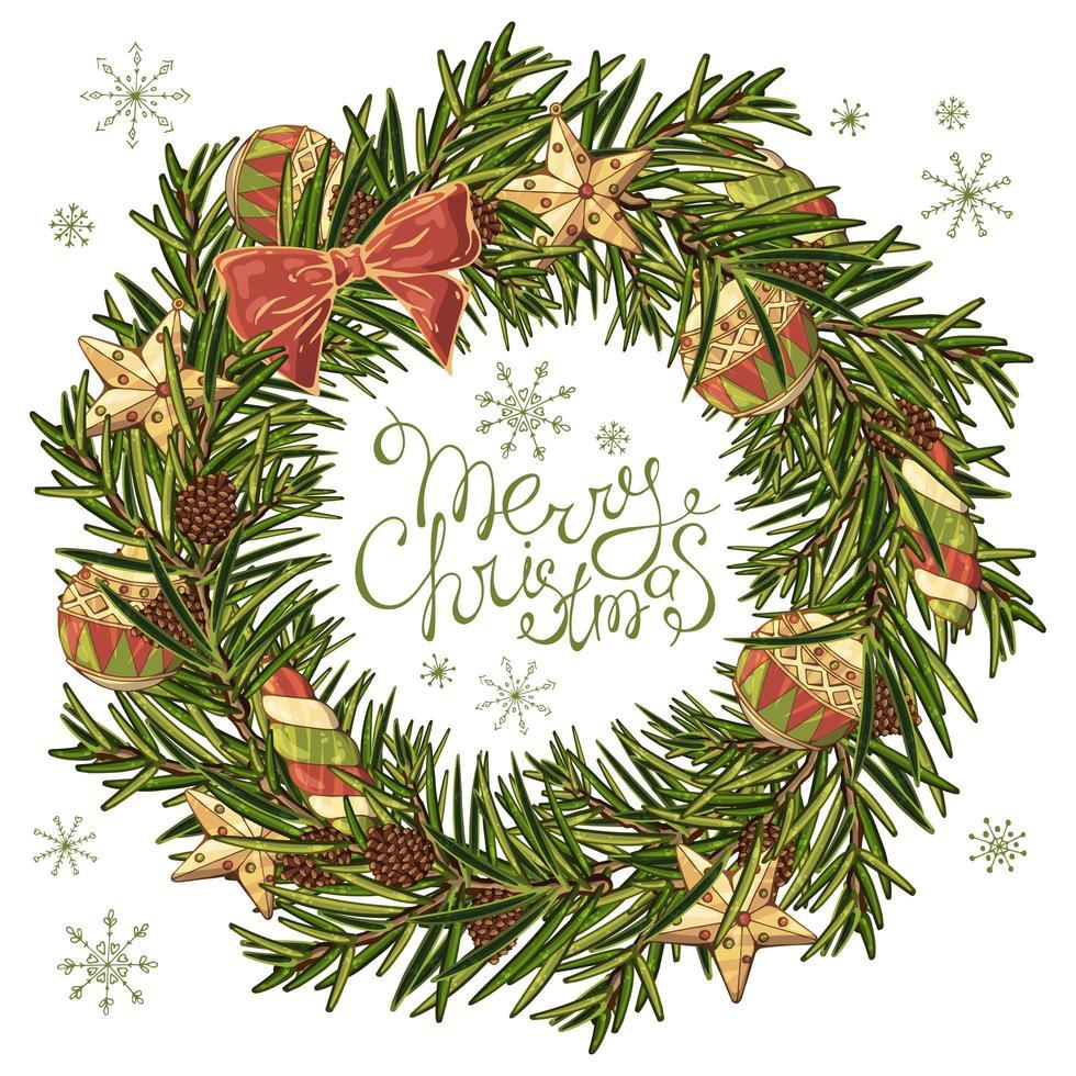 couronne de Noël dans un style dessiné à la main vecteur
