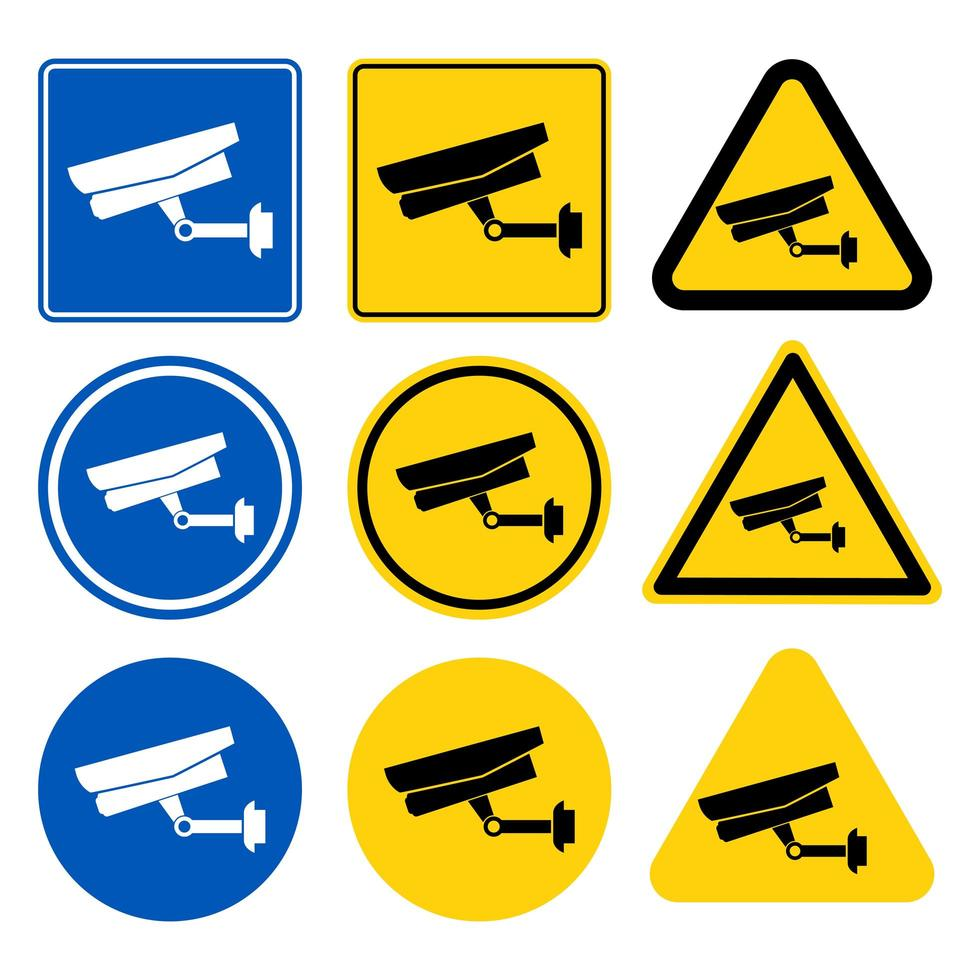 jeu d'étiquettes de caméra de vidéosurveillance vecteur