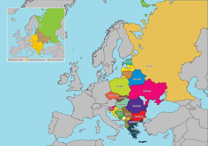 Vecteur carte de l'Europe de l'Est