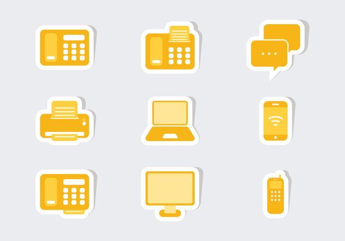 Vecteurs d'autocollants d'icônes de communication vecteur