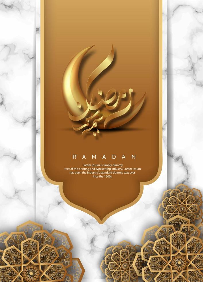 bannière de pendaison d'or ramadan kareem fond vecteur