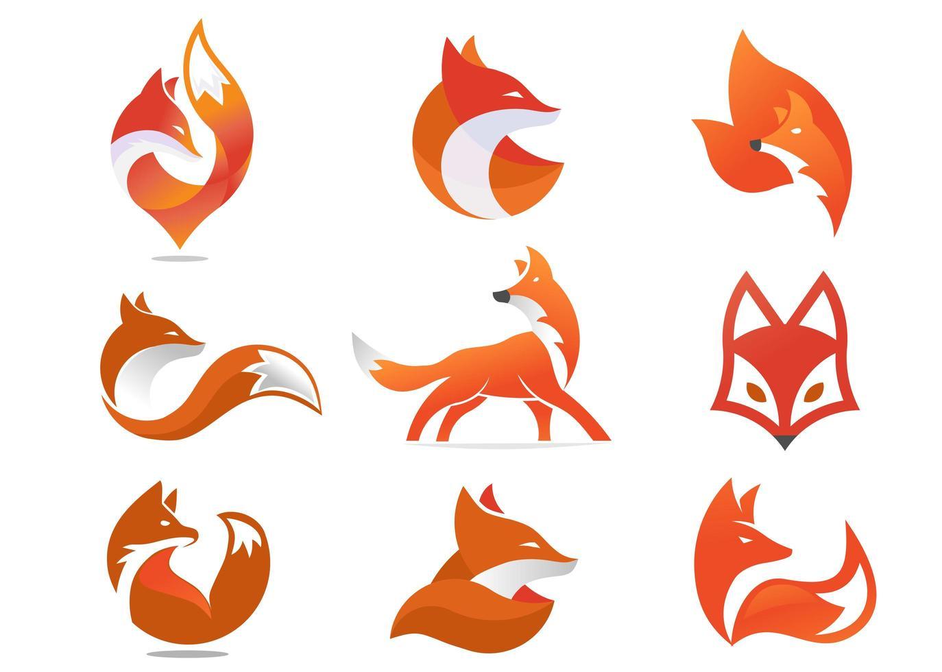 jeu d'icônes ou de logo de renard créatif vecteur