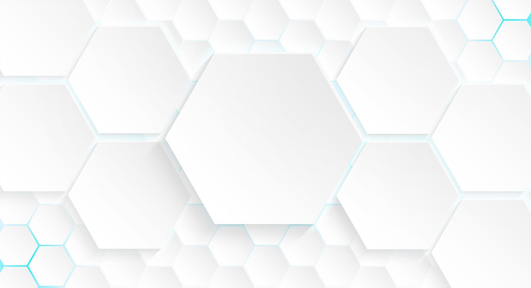 plusieurs hexagones avec lumière bleue et ombre vecteur