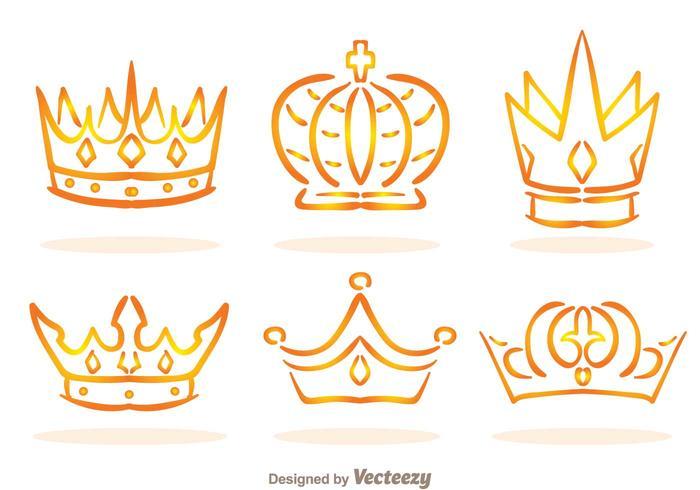 Vecteurs de logo couronne linéaire dorés vecteur
