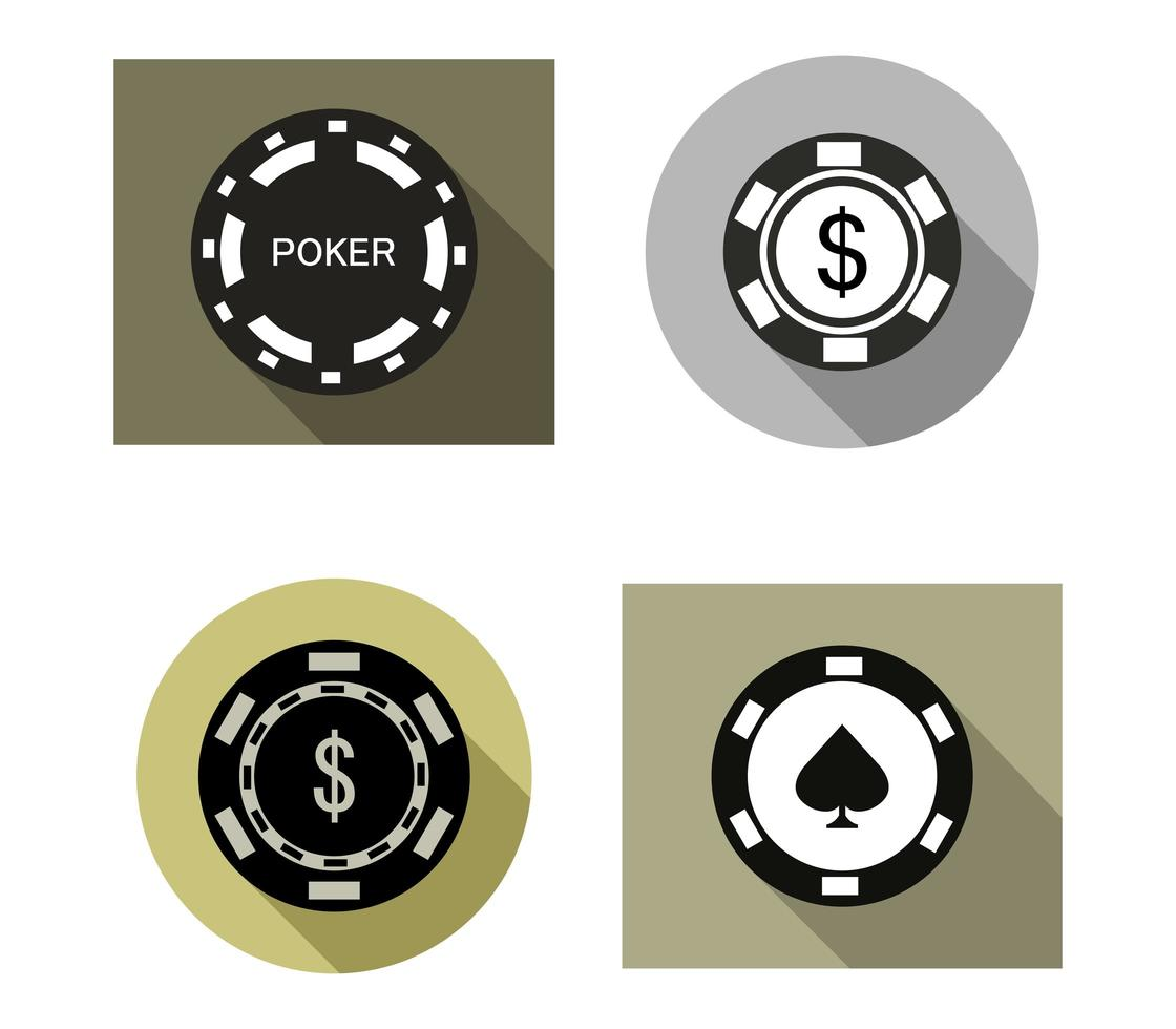 jeu d'icônes de poker vecteur
