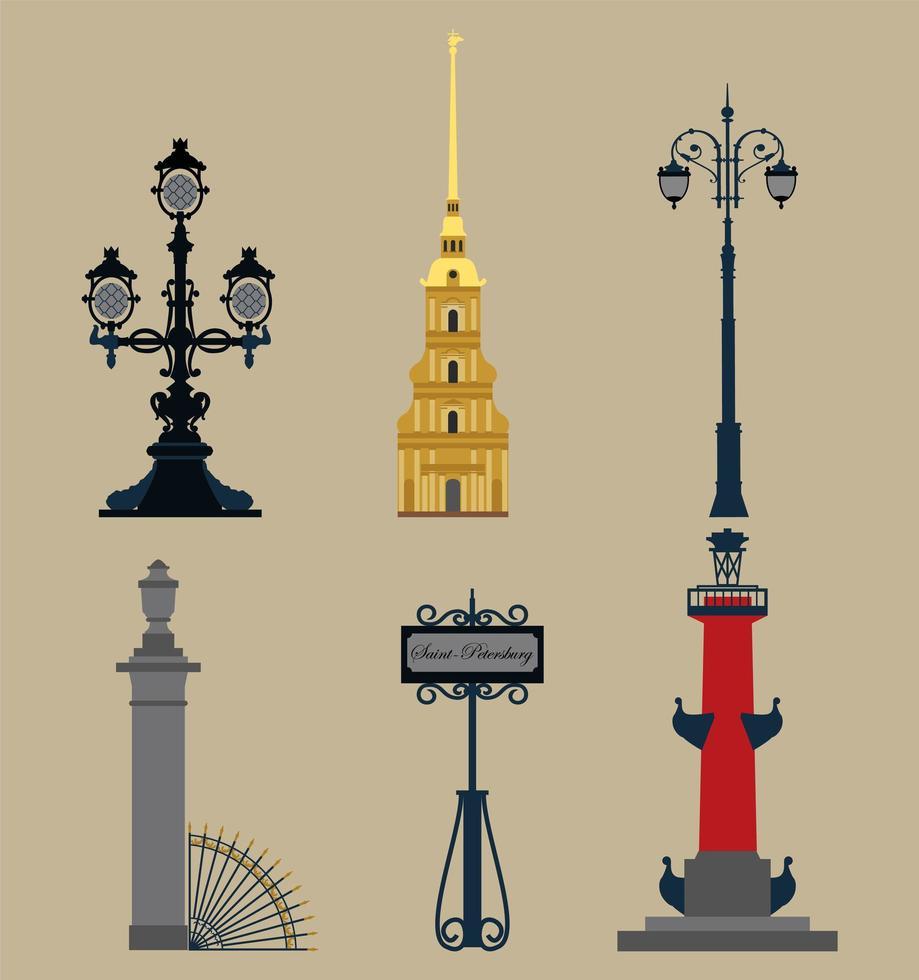 ensemble de symboles historiques russes vecteur
