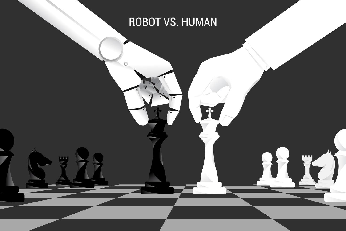 robot et main humaine déplacent des pièces d'échecs à bord vecteur