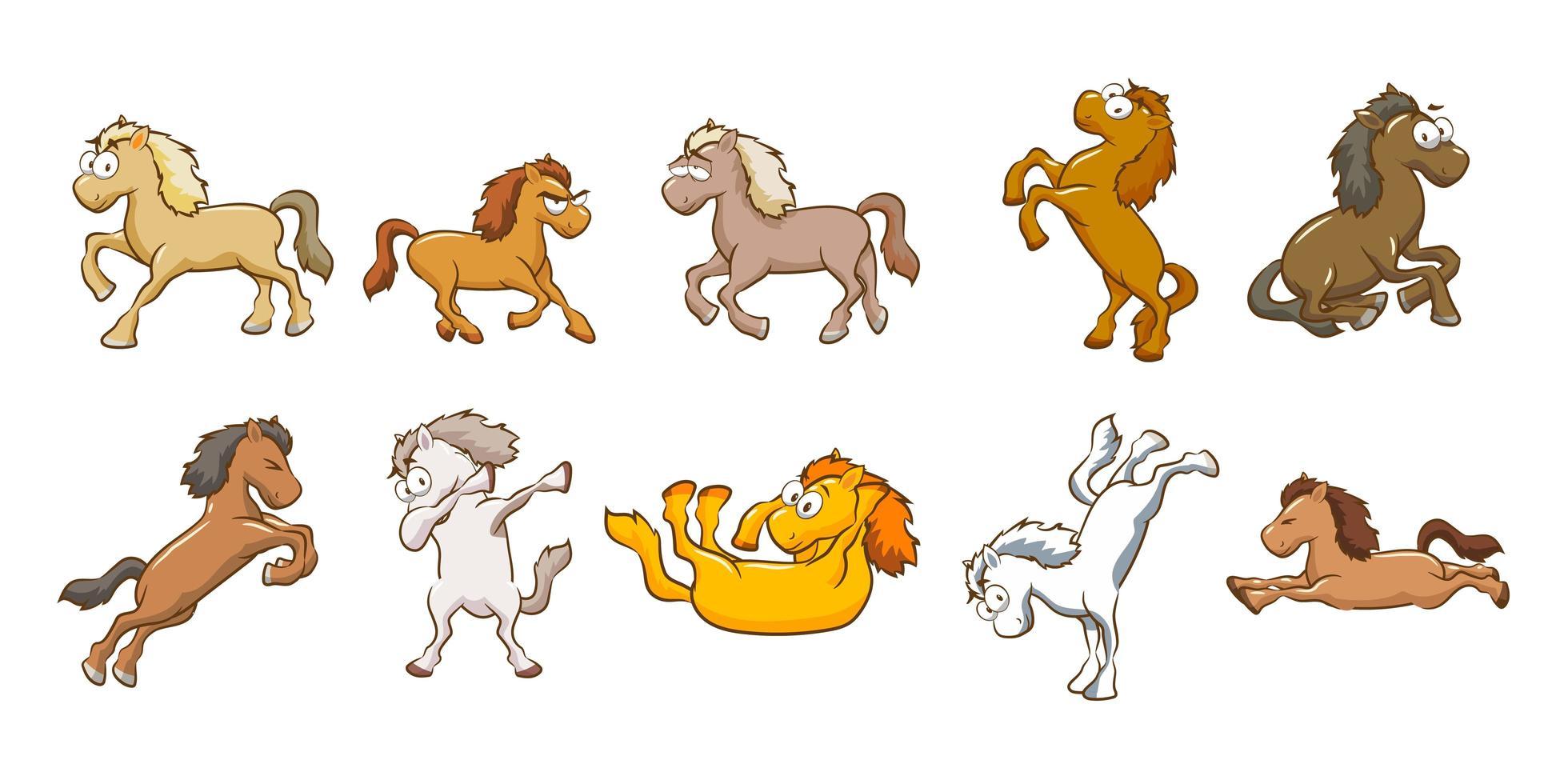 jeu de dessin animé de cheval vecteur